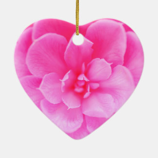 Beautiful Abstract Pink Rose Flower Heart Ornament