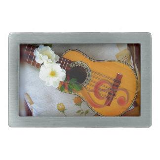 Beautiful acoustic guitar music note rectangular belt buckle