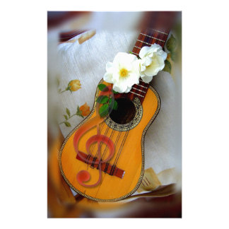 Beautiful acoustic guitar music note stationery