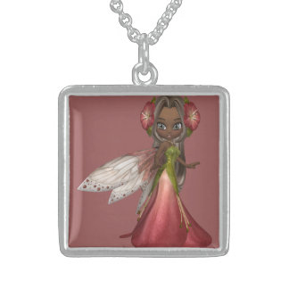 Beautiful African American Fairy with Green Eyes Square Pendant Necklace
