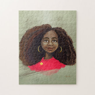 beautiful African American girl artwork Puzzle
