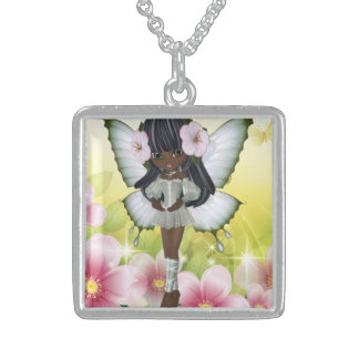 Beautiful African American Girl Princess Fairy Square Pendant Necklace