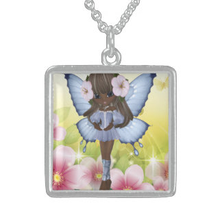 Beautiful African American Princess Fairy Square Pendant Necklace