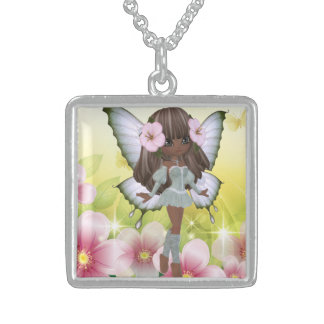Beautiful African American Princess Fairy Sterling Silver Necklace