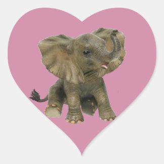 Beautiful African Baby Elephant Heart Sticker