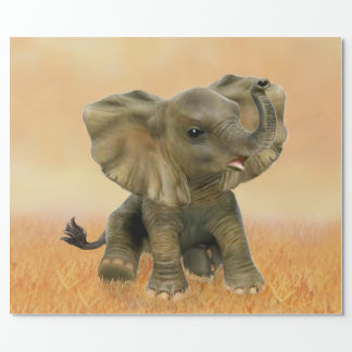 Beautiful African Baby Elephant Wrapping Paper