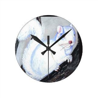 Beautiful Albino Squirrel Round Clock
