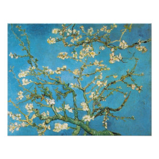 Beautiful almond blossom antique painting blue gre poster