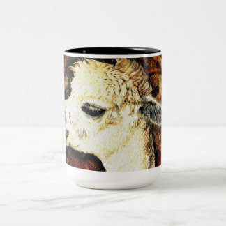 Beautiful Alpaca Image Two-Tone Coffee Mug