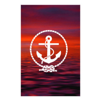 Beautiful Anchor rope Sunrise colourful Cloud Personalized Stationery