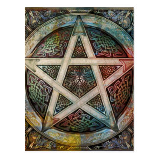 Beautiful And Colorful Pagan Pentacle Postcard