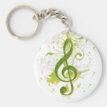 Beautiful and cool music notes with splatter basic round button key ring