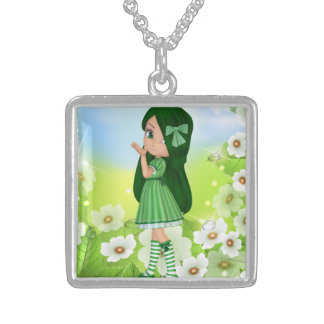 Beautiful and Cute Green Girl Sterling Silver Necklace