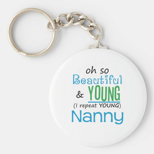 Beautiful and Young Nanny Basic Round Button Key Ring