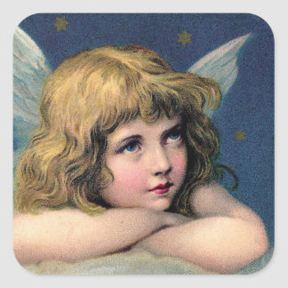 Beautiful Angel Etching Square Sticker