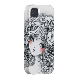 Beautiful anime girl in black and white iPhone 4/4S cases