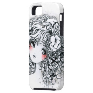 Beautiful anime girl in black and white iPhone 5 cases
