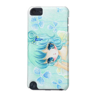 Beautiful anime girl with blue flowers iPod touch 5G cases
