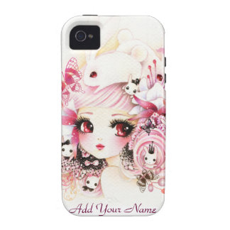 Beautiful anime girl with cute bunnies iPhone 4/4S case