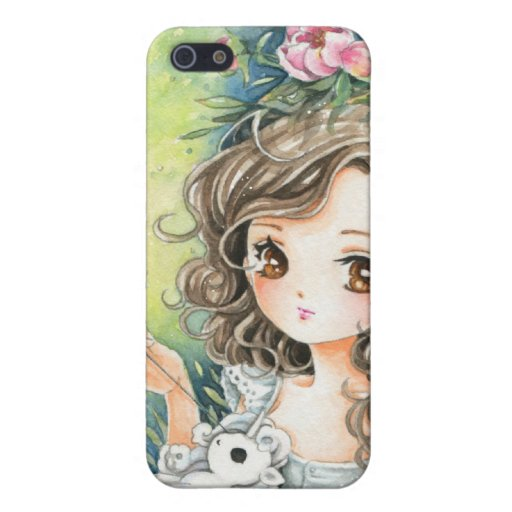 Beautiful anime girl with pony plush and peonies iPhone 5 covers