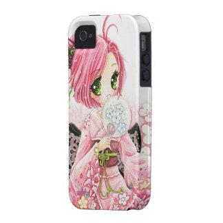 Beautiful anime Japanese girl in Kimono iPhone 4 Case