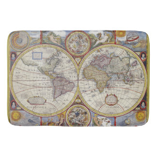 Beautiful Antique and Vintage old world Map Bath Mat