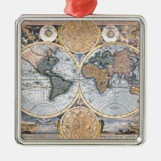 Beautiful Antique Atlas Map Silver-Colored Square Decoration