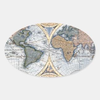 Beautiful Antique Atlas Map Oval Sticker