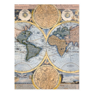 Beautiful Antique Atlas Map Postcard