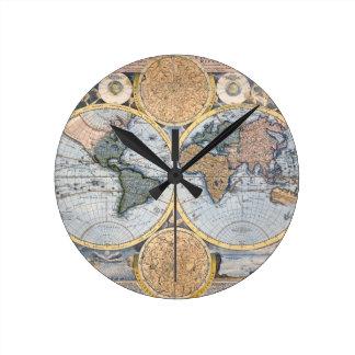 Beautiful Antique Atlas Map Round Clock