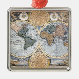 Beautiful Antique Atlas Map Silver-Colored Square Decoration