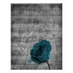 Beautiful antique blue rose paint splatter music poster