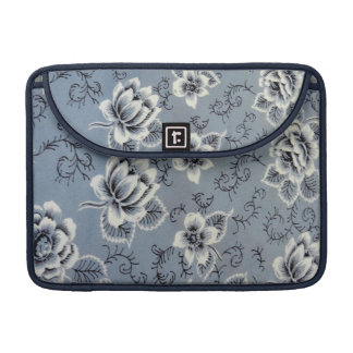Beautiful Antique Colonial Blue Floral Pattern Sleeve For MacBooks