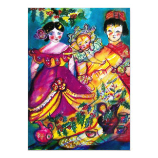 "BEAUTIFUL ANTIQUE DOLLS ,red blue purple yellow 5"" X 7"" Invitation Card"