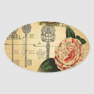 beautiful antique floral and butterfly design oval sticker