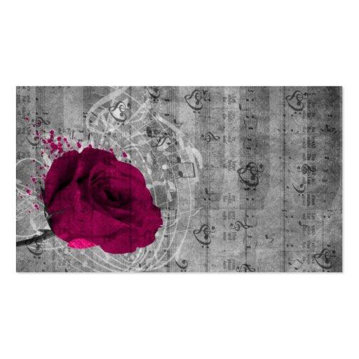Beautiful antique hot pink rose paint splatter business card template
