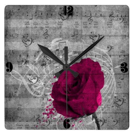 Beautiful antique hot pink rose paint splatter square wallclocks