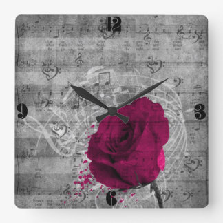 Beautiful antique hot pink rose paint splatter square wall clock