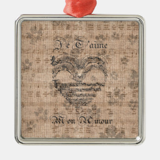 Beautiful antique music notes heart christmas ornament