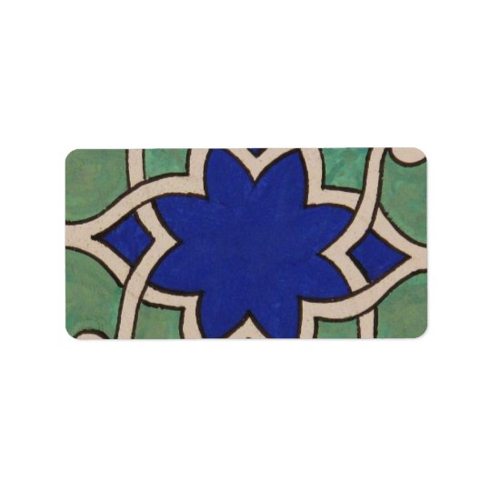Beautiful Antque Vintage Ottoman tile Address Label