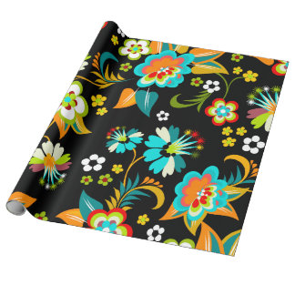 Beautiful Aqua & Black Abstract Floral Pattern Wrapping Paper