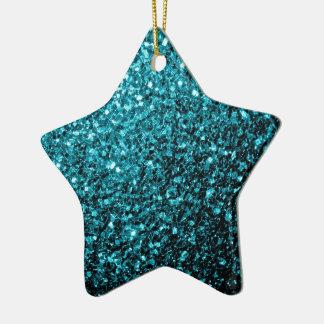 Beautiful Aqua blue glitter sparkles Christmas Ornament
