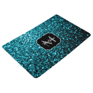 Beautiful Aqua blue glitter sparkles Monogram Floor Mat