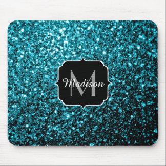 Beautiful Aqua blue glitter sparkles Monogram Mouse Pad