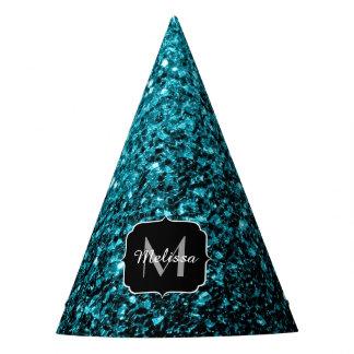 Beautiful Aqua blue glitter sparkles Monogram Party Hat