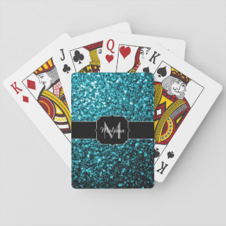 Beautiful Aqua blue glitter sparkles Monogram Playing Cards