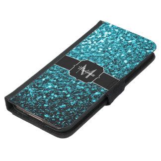 Beautiful Aqua blue glitter sparkles Monogram Samsung Galaxy S5 Wallet Case