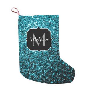 Beautiful Aqua blue glitter sparkles Monogram Small Christmas Stocking