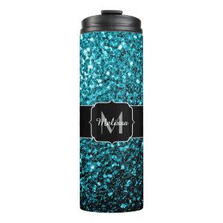 Beautiful Aqua blue glitter sparkles Monogram Thermal Tumbler