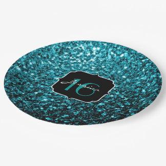 Beautiful Aqua blue glitter sparkles Sweet 16 9 Inch Paper Plate